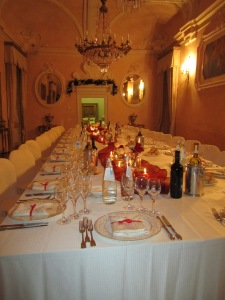 Dinner setup at Bevilacqua Castle